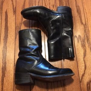 Frye Black Leather Boots Size 7 mid calf